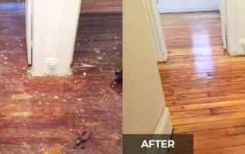 A great before and after photo of a hardwood floor that we refinished in Byron NY