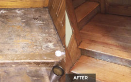 A before and after shot of a hardwood staircase that got dustless sanded and recoated
